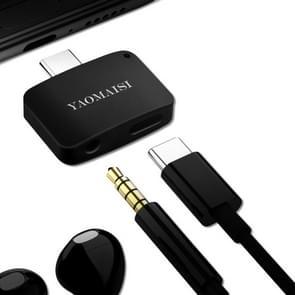 YAOMAISI 3 in1 lading / Listen / Bel Type-C Audio Converter, voor Galaxy S8 & S8 + / LG G6 / Huawei P10 & P10 Plus / Xiaomi Mi 6 & Max 2 en andere Smartphones(Black)