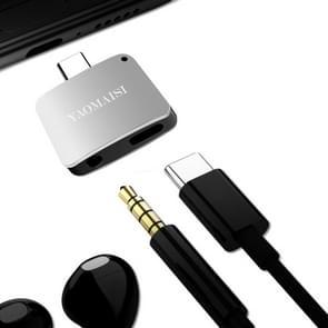 YAOMAISI 3 in1 lading / Listen / Bel Type-C Audio Converter, voor Galaxy S8 & S8 + / LG G6 / Huawei P10 & P10 Plus / Xiaomi Mi 6 & Max 2 en andere Smartphones(Silver)