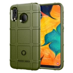 Shockproof Rugged  Shield Full Coverage Protective Silicone Case for Galaxy A30(Army Green)