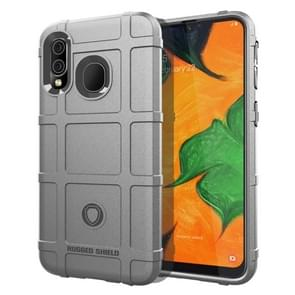 Shockproof Rugged  Shield Full Coverage Protective Silicone Case for Galaxy A40(Grey)