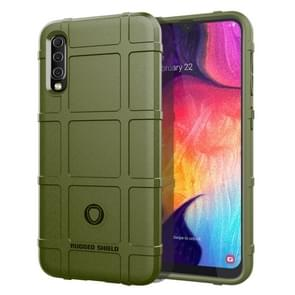 Shockproof Rugged  Shield Full Coverage Protective Silicone Case for Galaxy A50(Army Green)