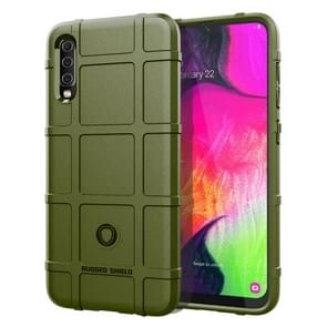 Shockproof Rugged  Shield Full Coverage Protective Silicone Case for Galaxy A70(Army Green)