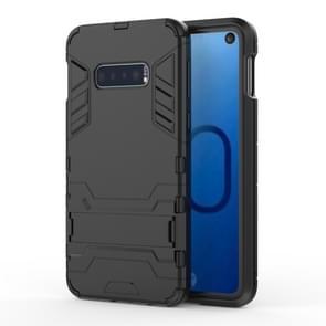Schokbestendige PC + TPU Case voor Galaxy S10e  met houder (zwart)