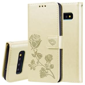 Rose Embossed Horizontal Flip PU Leather Case for Galaxy S10 Plus, with Holder & Card Slots & Wallet (Gold)