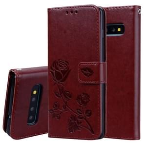 Rose Embossed Horizontal Flip PU Leather Case for Galaxy S10, with Holder & Card Slots & Wallet (Brown)