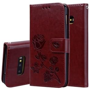 Rose Embossed Horizontal Flip PU Leather Case for Galaxy S10e, with Holder & Card Slots & Wallet (Brown)