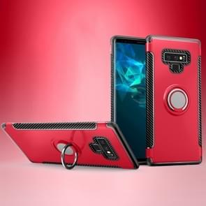 Magnetische Armor beschermende case voor Galaxy Note 9  met 360 graden rotatie ring houder (rood)