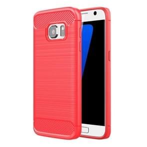Voor Galaxy S7 / G930 geborsteld textuur Fiber TPU ruige Armor beschermende Case(Red)