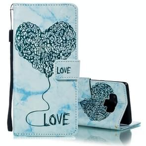 Heart + Marble Pattern Horizontal Flip Leather Case for Galaxy Note9, with Holder & Card Slots & Wallet & Lanyard(Blue)