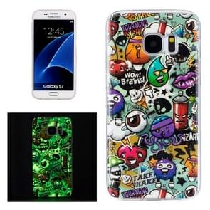 For Galaxy S7 / G930 Noctilucent Rubbish Pattern IMD Workmanship Soft TPU Protective Case