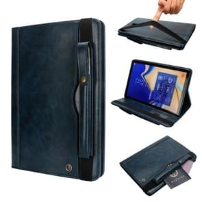 Horizontal Flip Leather Case for Galaxy Tab S4 T830 10.5 inch, with Double Card Slots & Pen Slots & Holder & Wallet & Photo Frame(Dark Blue)