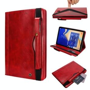 Horizontal Flip Leather Case for Galaxy Tab S4 T830 10.5 inch, with Double Card Slots & Pen Slots & Holder & Wallet & Photo Frame(Red)