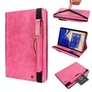 Horizontal Flip Leather Case for Galaxy Tab S4 T830 10.5 inch, with Double Card Slots & Pen Slots & Holder & Wallet & Photo Frame(Rose Red)