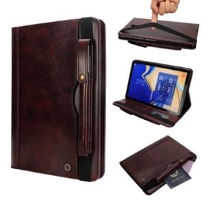Horizontal Flip Leather Case for Galaxy Tab S4 T830 10.5 inch, with Double Card Slots & Pen Slots & Holder & Wallet & Photo Frame(Dark Brown)