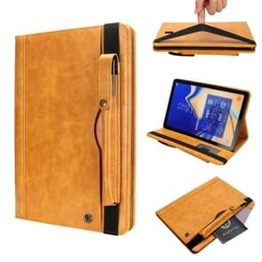 Horizontal Flip Leather Case for Galaxy Tab S4 T830 10.5 inch, with Double Card Slots & Pen Slots & Holder & Wallet & Photo Frame(Yellow)