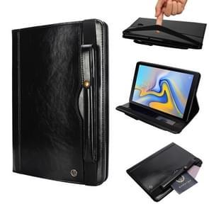 "Horizontale Flip leren Case voor Galaxy Tab A T590 10 5 inch  met dubbele kaart slots"" & Pen ""slots"" & houder & portemonnee & Foto Frame(Black)"""