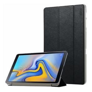 ENKAY zijde textuur horizontaal flip PU lederen Case voor Galaxy Tab een 10.5 / T595 & T590, met drie-vouwen houder & slaap / Wake-up functie (zwart)