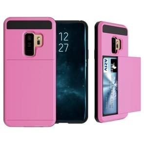 For Galaxy S9+ Detachable Dropproof Protective Back Cover Case with Slider Card Slot(Pink)