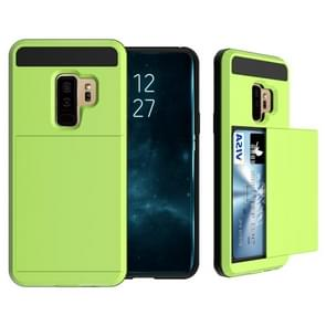 For Galaxy S9+ Detachable Dropproof Protective Back Cover Case with Slider Card Slot(Green)