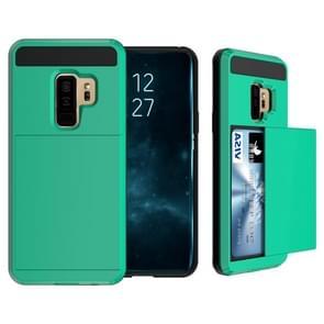 Voor Galaxy S9 PLUS Cover afneembare Dropproof beschermende back cover met schuif-kaartsleuf (donkergroen)