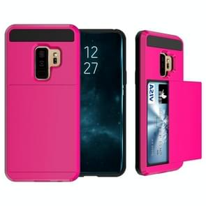 For Galaxy S9+ Detachable Dropproof Protective Back Cover Case with Slider Card Slot(Magenta)