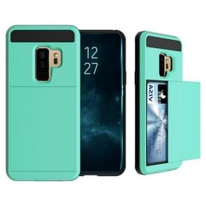 For Galaxy S9+ Detachable Dropproof Protective Back Cover Case with Slider Card Slot(Mint Green)