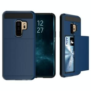 For Galaxy S9+ Detachable Dropproof Protective Back Cover Case with Slider Card Slot(Navy Blue)