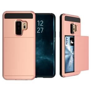 For Galaxy S9+ Detachable Dropproof Protective Back Cover Case with Slider Card Slot(Rose Gold)