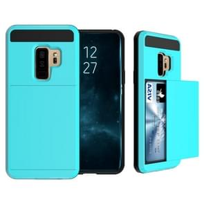 For Galaxy S9+ Detachable Dropproof Protective Back Cover Case with Slider Card Slot(Baby Blue)