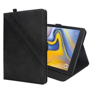 Horizontal Flip Double Holder Leather Case for Galaxy Tab A 8.0 (2018) T387, with Card Slots & Photo Frame & Pen Slot (Black)