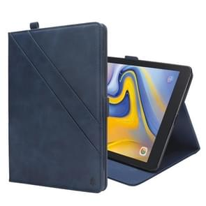 Horizontal Flip Double Holder Leather Case for Galaxy Tab A 8.0 (2018) T387, with Card Slots & Photo Frame & Pen Slot (Blue)
