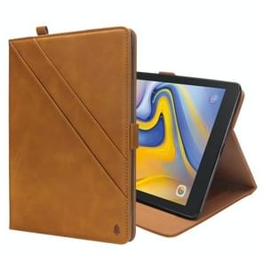 Horizontal Flip Double Holder Leather Case for Galaxy Tab A 8.0 (2018) T387, with Card Slots & Photo Frame & Pen Slot (Light Brown)