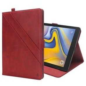 Horizontal Flip Double Holder Leather Case for Galaxy Tab A 8.0 (2018) T387, with Card Slots & Photo Frame & Pen Slot (Red)
