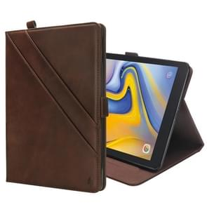 Horizontal Flip Double Holder Leather Case for Galaxy Tab A 8.0 (2018) T387, with Card Slots & Photo Frame & Pen Slot (Dark Brown)