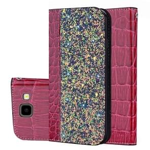 Crocodile Texture Glitter Powder Horizontal Flip Leather Case for Galaxy J4+  with Card Slots & Holder (Wine Red)