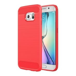 For Galaxy S6 Edge / G925 Brushed Texture Fiber TPU Rugged Armor Protective Case(Red)