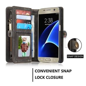 CaseMe for Galaxy S7 / G930 Multifunctional Leather Billfold with Detachable Magnetic PC Back Protective Case & 10 Card Slots & 3 Cash Slots & 2 Photo Frames & 1 Zipper Wallet & 3 Magnetic Clasps & Holder(Black)
