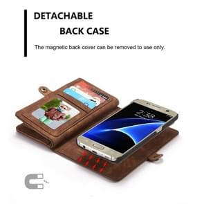 CaseMe for Galaxy S7 / G930 Multifunctional Leather Billfold with Detachable Magnetic PC Back Protective Case & 10 Card Slots & 3 Cash Slots & 2 Photo Frames & 1 Zipper Wallet & 3 Magnetic Clasps & Holder(Coffee)