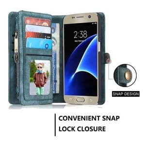CaseMe for Galaxy S7 / G930 Multifunctional Leather Billfold with Detachable Magnetic PC Back Protective Case & 10 Card Slots & 3 Cash Slots & 2 Photo Frames & 1 Zipper Wallet & 3 Magnetic Clasps & Holder(Green)