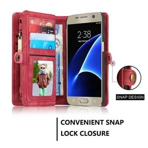 CaseMe for Galaxy S7 / G930 Multifunctional Leather Billfold with Detachable Magnetic PC Back Protective Case & 10 Card Slots & 3 Cash Slots & 2 Photo Frames & 1 Zipper Wallet & 3 Magnetic Clasps & Holder(Red)