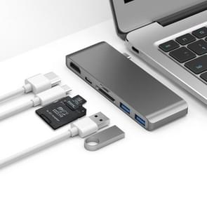 Basix T6 6 in 1 USB-C / Type-C to USB3.0x2 Type-Cx1 HUB Adapter with HDMI Output, SD Card Reader,Micro SD for Type-C Channel Computers and Phones(Grey)