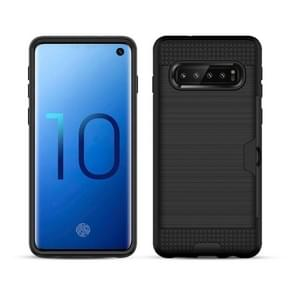 Brushed Texture PC + TPU Protective Case for Galaxy S10, with Card Slot (Black)