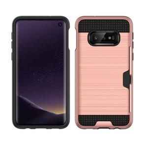 Brushed Texture PC + TPU Protective Case for Galaxy S10 Lite, with Card Slot (Rose Gold)