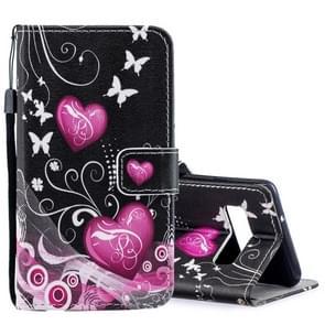 Perzik hart patroon horizontale Flip lederen Case voor Galaxy S10  met houder & kaartsleuven & portemonnee