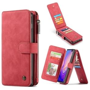 CaseMe Crazy Horse Texture Detachable Multifunctional Horizontal Flip Leather Case for Galaxy S10, with Card Slot & Holder & Zipper Wallet & Photo Frame (Red)