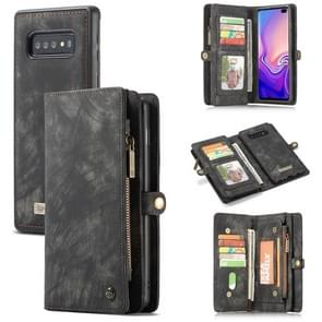 CaseMe Detachable Multifunctional Horizontal Flip Leather Case for Galaxy S10, with Card Slot & Holder & Zipper Wallet & Photo Frame (Black)