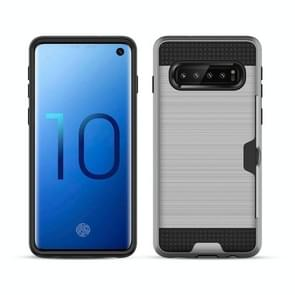 Brushed Texture PC + TPU Protective Case for Galaxy S10+, with Card Slot (Silver)
