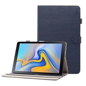 ENKAY houtstructuur horizontale Flip leren Case voor Galaxy Tab een 10.5 T590 / T595  met houder & slaap / Wake-up functie (donkerblauw)