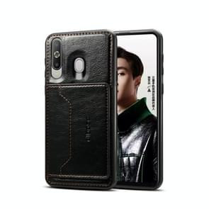 Dibase TPU + PC + PU Crazy Horse Texture Protective Case for Galaxy A8S, with Holder & Card Slots (Black)