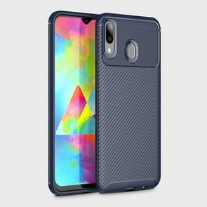 Beetle Series Carbon Fiber Texture Shockproof TPU Case for Galaxy M20(Blue)